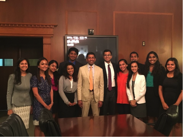 The 2016 WLP scholars with the Honorable Judge Srinivasan, a judge on the U.S. Court of Appeals for the District of Columbia Circuit, one of the highest positions to be held by a South Asian America, he also is one of the only appointees to have been confirmed by the senate almost unanimously at 97-0.